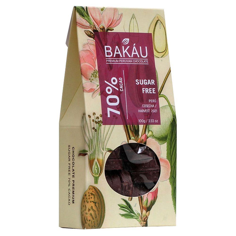 BAKÁU - OBLEAS DE CHOCOLATE SUGAR FREE 70% CACAO (100GR.)