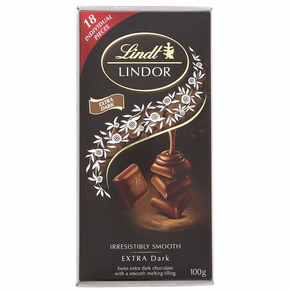 CHOCOLATES SUIZOS LINDT LINDOR (EXTRA DARK) - BARRA 100 GR.