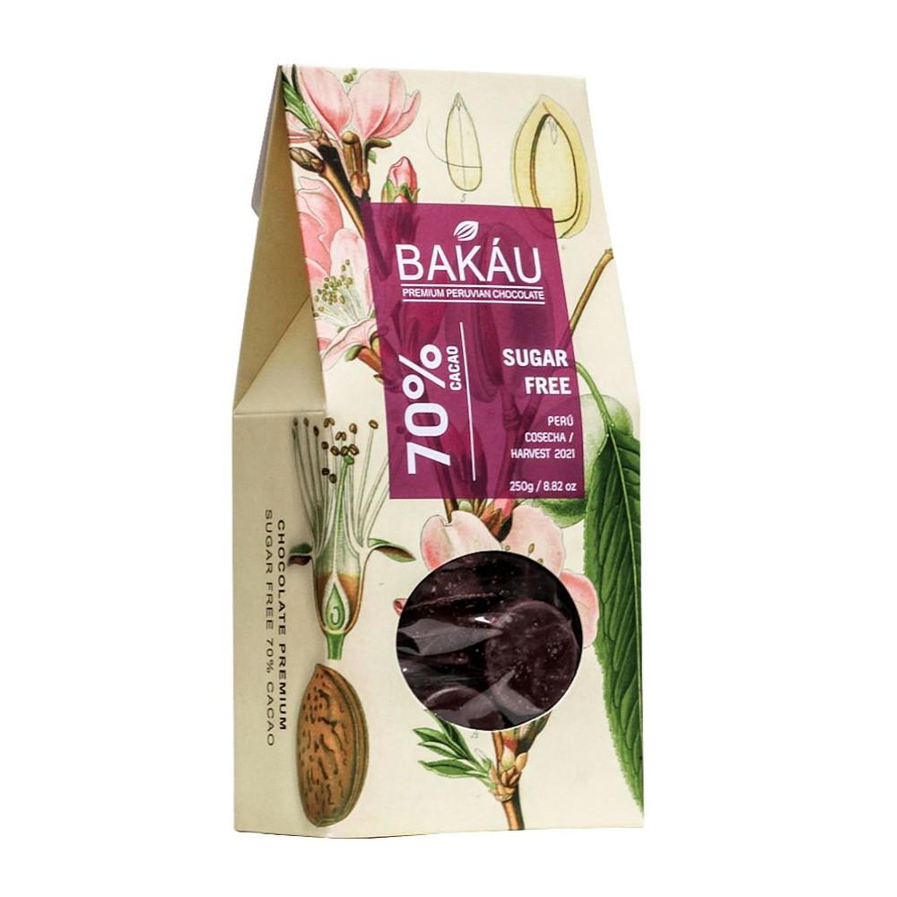 BAKÁU - MONEDAS DE CHOCOLATE SUGAR FREE 70% CACAO (250 GR.)